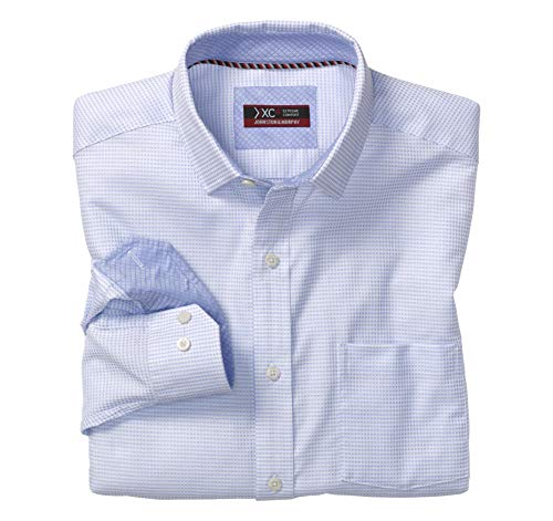 Johnston & Murphy Men's XC4 Mini Woven Check Point-Collar Shirt White L US ()
