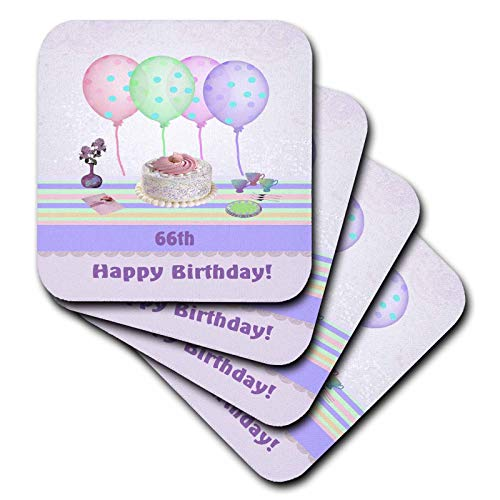 - 3dRose Beverly Turner Birthday Design - 66th White Icing Cake with Balloons and Vase of Flowers, Pastels - set of 8 Coasters - Soft (cst_113263_2)