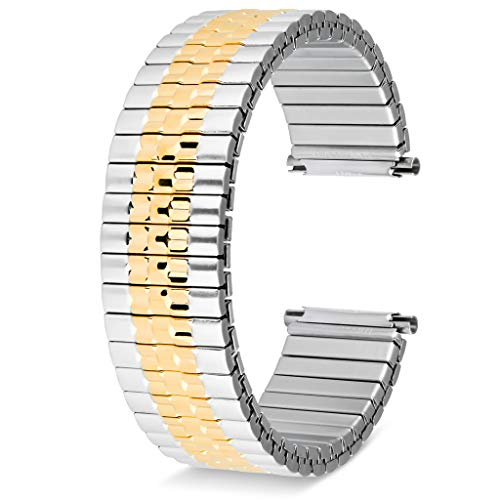 United Watch Bands Jubilee Style Expansion Stretch Stainless Steel Watch Band, Choice of Colors, Straight and Expandable Ends Universal Fits All Watch Brands with Lug Openings from 16MM to 22MM