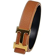 Man's Fashion Alloy H Buckle Leather Belt