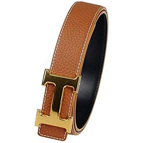 (Man's Fashion Alloy H Buckle Leather Belt (30