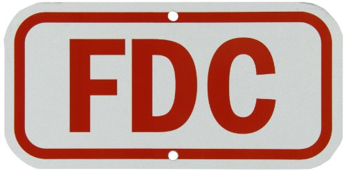 "SmartSign 3M Engineer Grade Reflective Sign, Legend ""FDC"", 6"" high x 12"" wide, Red on White"