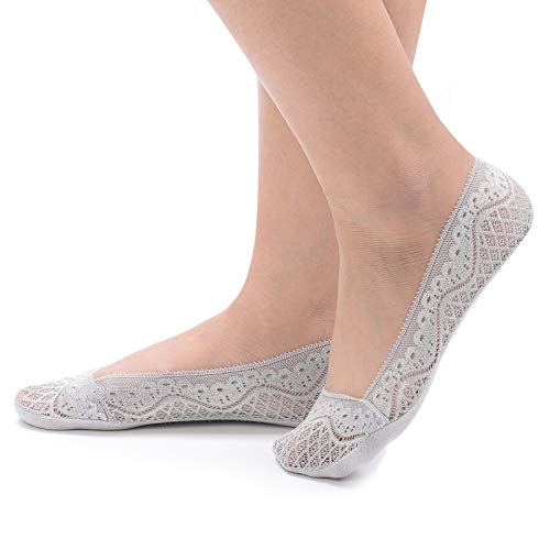 Flammi Women's 4 Pairs Low Cut Lace No Show Liner Socks Cotton Bottom Non Slip (Light Grey)