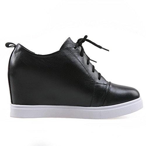 Blend Allhqfashion mit Stiefel Aufzugsschuhen Heels Material Damen Schwarz Low Blend Materials BqPrtTwq4
