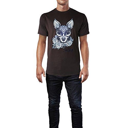 SINUS ART® Hundekopf mit Ornamenten Herren T-Shirts in Schokolade braun Fun Shirt mit tollen Aufdruck