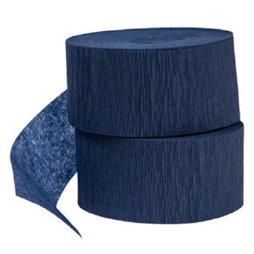 4 rolls of 72.5ft, NAVY / DARK BLUE Crepe Paper Streamers 290 ft Total - Made in USA!
