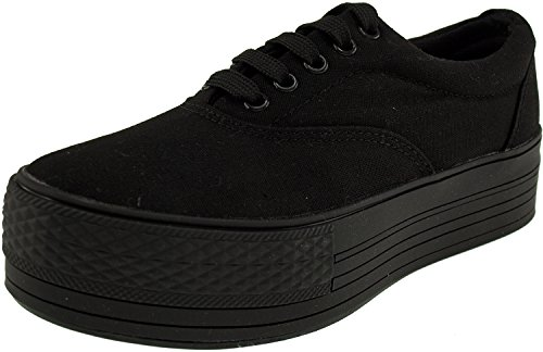 Maxstar Low Canvas Platform Top Black Sneakers Boat Shoes Simple gwrFqgP