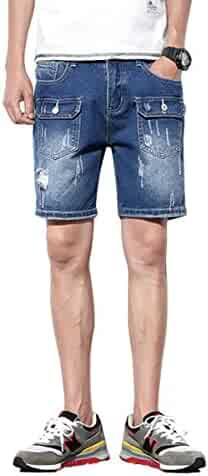 a43ab145f452 Cloudstyle Men s Fashion Ripped Distressed Straight Fit Elastic Waist Denim  Shorts with Hole with Pocket
