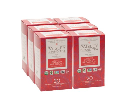 Paisley Label Tea by Two Leaves and a Bud Organic English Breakfast Black Tea Bags, 20 Count (Pack of 6) Organic Whole Leaf Full Caffeine Black Tea in Biodegradable Paper Teabags, Drink Hot or Iced