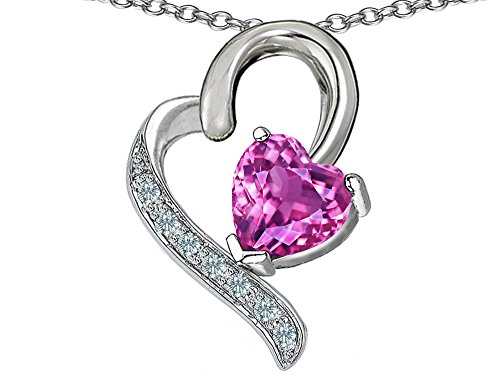 Star K 7mm Heart Shape Created Pink Sapphire Heart Pendant Necklace Sterling Silver (Created Pink Sapphire Heart Pendant)