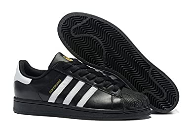 adidas superstar imported Unisex Black Sneaker (10.5)