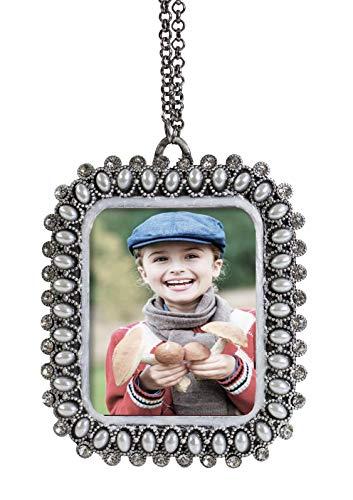 - Fennco Styles Vintage Mini Silver Pearls Rhinestone Jeweled Photo Frame Ornament - Sold per 1 (Rectangle)