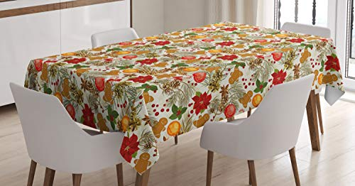 Large Bell Cone Flower - Ambesonne Christmas Tablecloth, Tree Branches Balls Bells Cones Poinsettia Flowers Mistletoe Berry, Dining Room Kitchen Rectangular Table Cover, 52