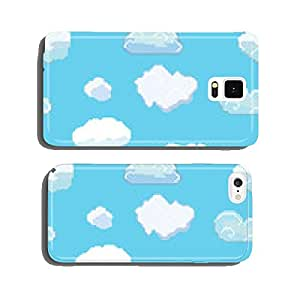 Vector Pixel Art Clouds Seamless Pattern cell phone cover case Samsung S6