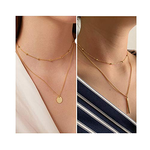 - choice of all Layered Beads Round Coin Choker Necklace for Women 2 Layered Disc Necklace (D:Gold Coin+bar)