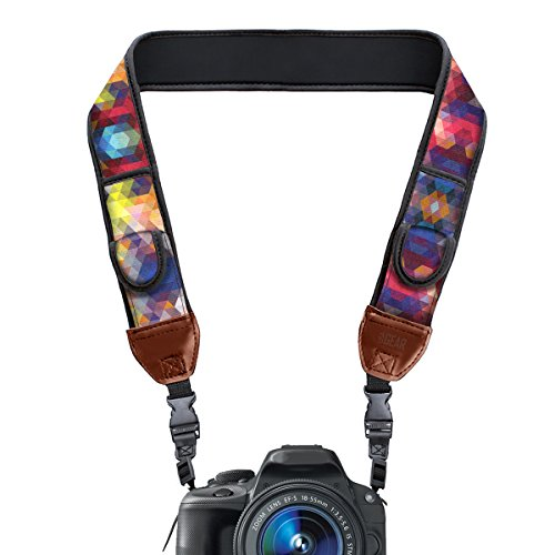 TrueSHOT Camera Strap with Colorful Neoprene Pattern and Accessory Storage Pockets by USA Gear – Works With Canon , Fujifilm , Nikon , Sony and More DSLR , Mirrorless , Instant Cameras
