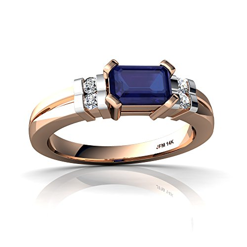 14kt Rose Gold Lab Sapphire and Diamond 6x4mm Emerald_Cut Art Deco Ring - Size 8 ()
