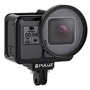 PULUZ CNC Case for GoPro Hero 7 Black New Hero (2018) GoPro Hero 6/5 Aluminum Alloy Hollow Carved Design Housing Protective Cage with Insurance Frame & 52mm UV Filter Perfect GPS Data Signal