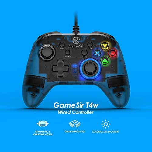 Wired PC Game Controller, GameSir T4w for Windows 7/8/10 with LED Backlight, Gamepad for PC with Dual-Vibration Turbo and Trigger Buttons