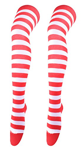Stripped Knee High Socks Decorative Sock Cotton Knit Stockings Tights Red&White (Red And White Stripped Tights)