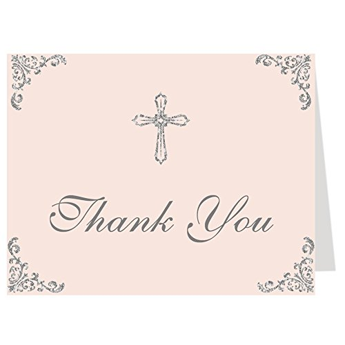 (Thank You Cards, Christian, Religious, for Baptism, First Communion, Confirmation, Graduation, CCD, Christening, Pink, Silver, Cross, 50 Pack Thank You Notes with Envelopes)