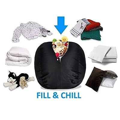 BeanBob Stuffed Animal Bean Bag - Kids Stuffed Animal Storage Bag Chair - Pouf Ottoman for Toy Storage 2.5ft, Black: Kitchen & Dining