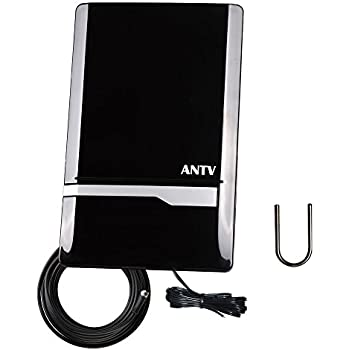 ANTV 50 Mile Radio Antenna, Indoor Amplified FM/AM Antenna for Stereo Radio Audio Signals RF Broadcast Receiver Tuner, 6ft 75Ω, FM Coaxial Cable and 6ft AM ...
