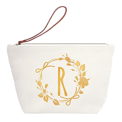 ElegantPark R Initial Monogram Personalized Travel Makeup Cosmetic Bag Wristlet Pouch Gifts with Zipper Canvas by ElegantPark