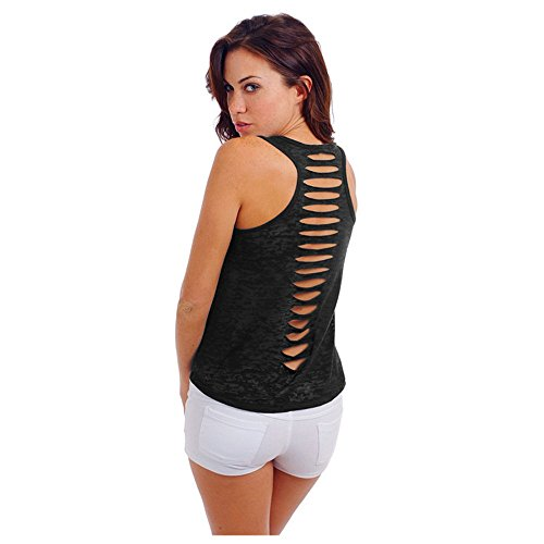 HHei_K Womens Casual Solid-Color Back Cut-Out Holes Vest Crew Neck Sleeveless Perspective Shirt Tank Top