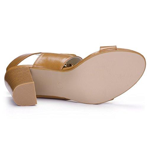 Allegra K Damen hohe Hacke offene Zehe Schnuerschuhe Sandalette Sandale Schuh Braun