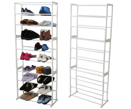 NEW 30 Pair 10 Tier Shoe Rack Modern Shoe Organizer Stand Tower Holder Storage