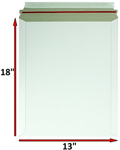 10 Pack Rigid Mailers. X- Large size 13 x 18 ( 13x18 ). White Cardboard Self sealing envelopes. Stay Flat & No bend mailers. 26pt paperboard. Photo & Documents & Prints. Shipping & Mailing & Pack. (Print Photo Envelopes)