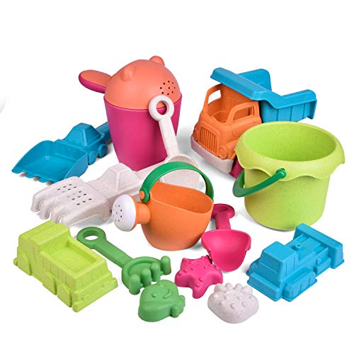 FunLittleToy Kids Beach Sand Toy Set, Beach Bucket, Car, Watering Can, Shovel, Rake and Molds, Eco-Friendly Sandbox Toys Kids Outdoor Toys 14 Piece