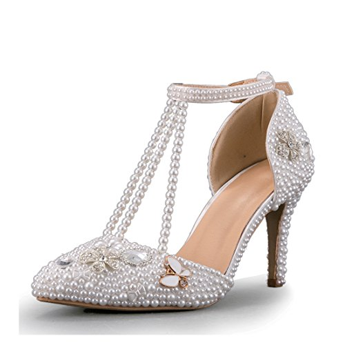 Minitoo MinitooEU-MZ8290, Escarpins pour Femme White-9cm Heel