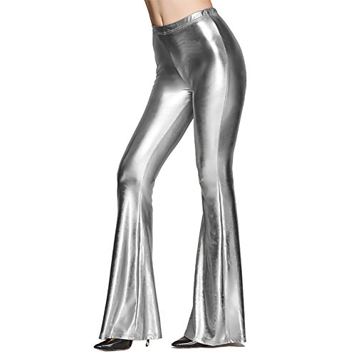 Women Shiny Slim Fit High Waist Bell Bottom Flare Pants Metallic Bootcut Palazzo Retro 70s Glam Sparkly Yoga Fall Leggings Silver M (Striped Metallic Pant)