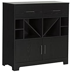 Home Bar Cabinetry South Shore Vietti Bar Cabinet with Liquor and Wine Bottle Storage with Drawers, Black Oak with Metal Handles home bar cabinetry