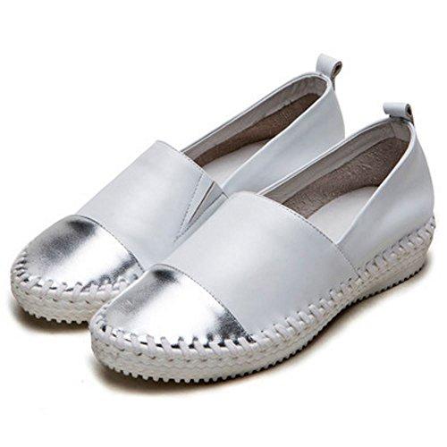 COOLCEPT Flach Pumps Runde Zehe Gemütlich Leder Casual Schuhen Weiß
