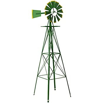 Lovely Tangkula 8FT Windmill Yard Garden Metal Ornamental Wind Mill Weather Vane  Weather Resistant (Green)