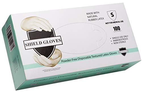 (ABC Natural Color Non Examination Gloves. Pack of 100 Protective Durable Powder Free Gloves. Disposable Heavy Duty Latex Gloves for non medical use. Comfortable fit. Small size. Wholesale price.)