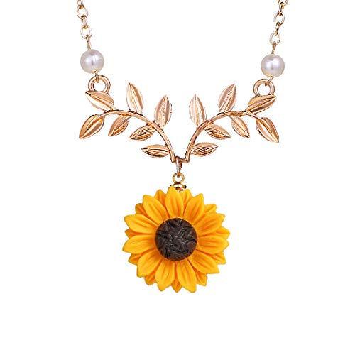 17mile Sunflower Pearl Leaf Chain Resin Boho Handmade Drop Pendant Choker Necklace Plated Gold/Rose ()