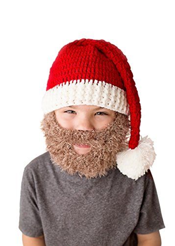Dubster Brand Crochet Wool Knit Santa Hat and Beard Set for Kids or Adult (Kids Santa Hat)