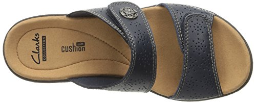 CLARKS Womens Leisa Lacole Slide Sandal, Navy Leather, 12 N US