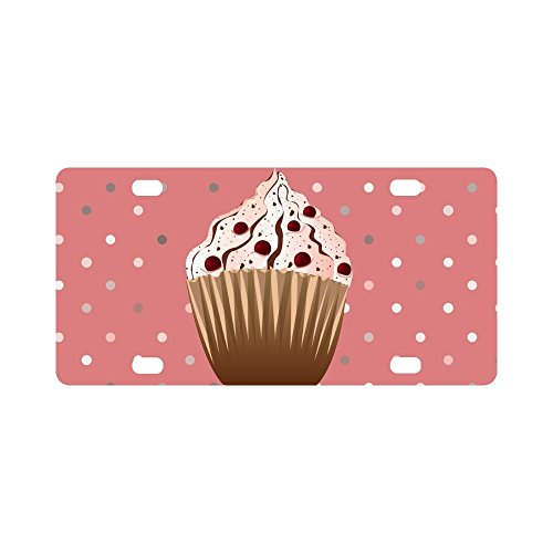 InterestPrint Sweet Cranberries Cupcake Desserts with Polka Dots Automotive Metal License Plates Decor Decoration, Car Tag for Woman Man - 12 x 6 Inch
