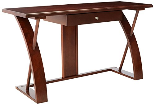 Roundhill Furniture Solid Wood Computer Desk, Cherry ()