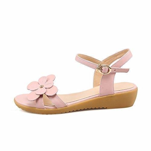 Solid Pink Heels Low Womens Toe Sandals Open Buckle AmoonyFashion O184xnX1