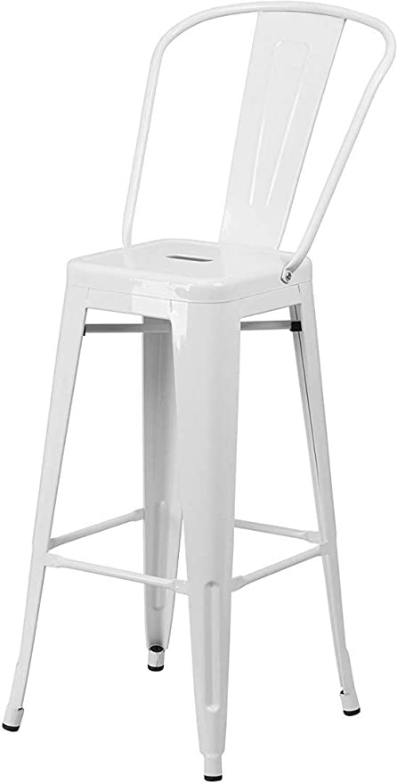 Amazon Com Kls14 Contemporary Vintage Metal Stacking 30 Bar Stool With Back Restaurant Commercial Chairs Indoor Outdoor Home Office Furniture Decor 1 White 2317 Garden Outdoor