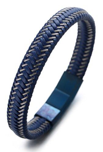 Halukakah 'JAZZ' Men's Genuine Leather Bracelet Titanium Magnetic Clasp...