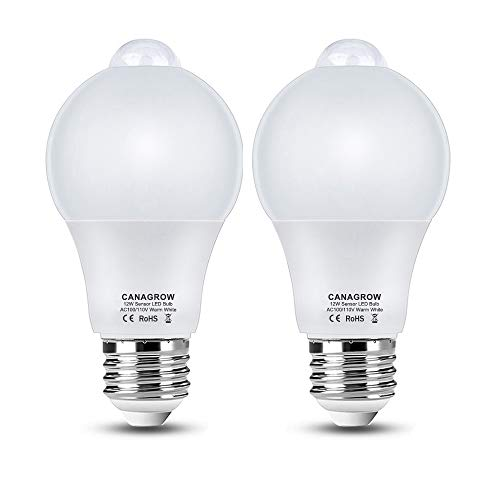 Motion Sensor Light Bulbs, Smart LED Light Bulbs, CANAGROW A60 12W (120W Equivalent) E26 Motion Activated Dusk to Dawn Light Bulb Indoor Outdoor Night Lights for Front Door Porch Garage, 2 Pack
