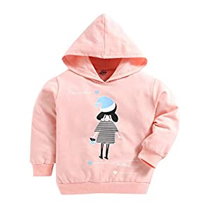 Hopscotch The Sandbox Clothing Co Girls Cotton Full Sleeves Cartoon Printed Hoodie in Pink Color