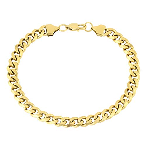 Yellow Plated Stainless Steel Bracelet - PY Bling Cuban Chain Link-Stainless Steel 8mm 14K/18K Gold Plated Stainless Steel Necklace for Men Women-Hip Hop Jewelry(7-30 inches) (8, 14k-Yellow-Gold-Plated-Stainless-Steel)